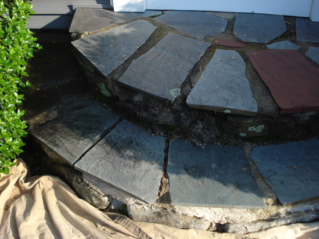 Flagstone Step Repair - Before